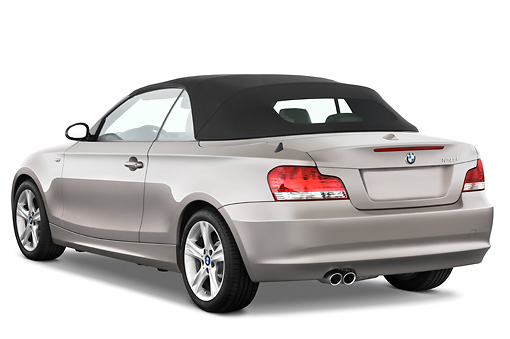 AUT 01 IZ0005 01 © Kimball Stock 2011 BMW 135i Convertible Silver 3/4 Rear View Studio