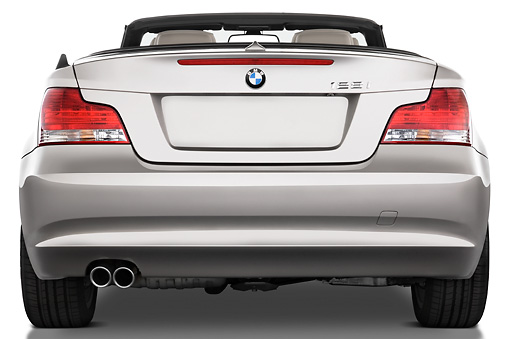 AUT 01 IZ0006 01 © Kimball Stock 2011 BMW 135i Convertible Silver Rear View Studio