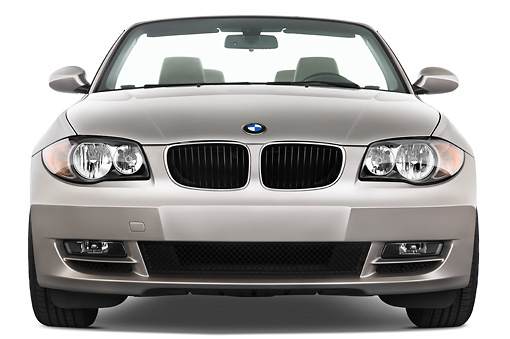 AUT 01 IZ0007 01 © Kimball Stock 2011 BMW 135i Convertible Silver Head On View Studio