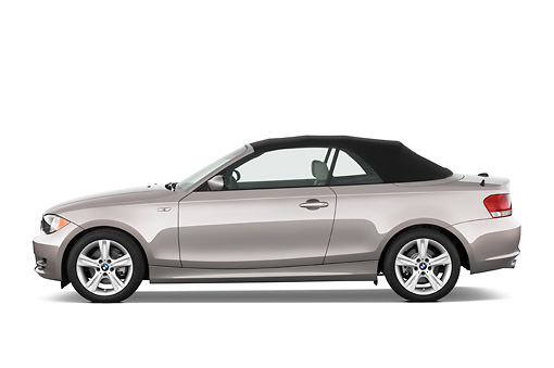 AUT 01 IZ0008 01 © Kimball Stock 2011 BMW 135i Convertible Silver Profile View Studio