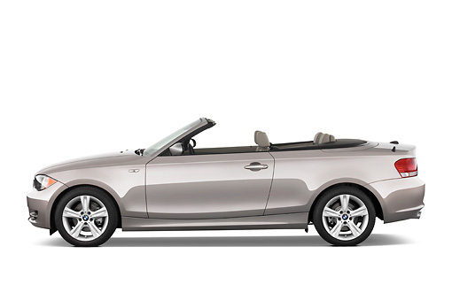 AUT 01 IZ0009 01 © Kimball Stock 2011 BMW 135i Convertible Silver Profile View Studio