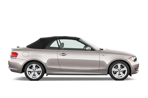 AUT 01 IZ0010 01 © Kimball Stock 2011 BMW 135i Convertible Silver Profile View Studio
