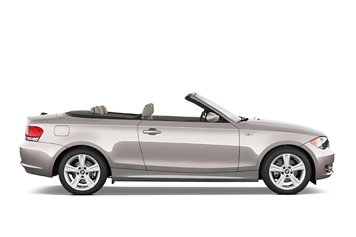 AUT 01 IZ0011 01 © Kimball Stock 2011 BMW 135i Convertible Silver Profile View Studio