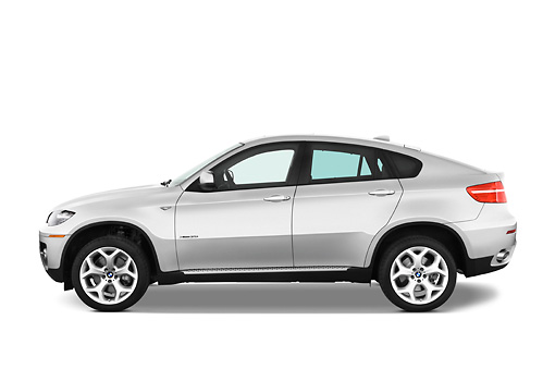 AUT 01 IZ0012 01 © Kimball Stock 2011 BMW X6 Sports Activity Vehicle Silver Profile View Studio