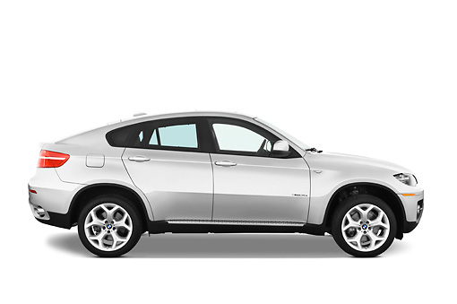 AUT 01 IZ0013 01 © Kimball Stock 2011 BMW X6 Sports Activity Vehicle Silver Profile View Studio