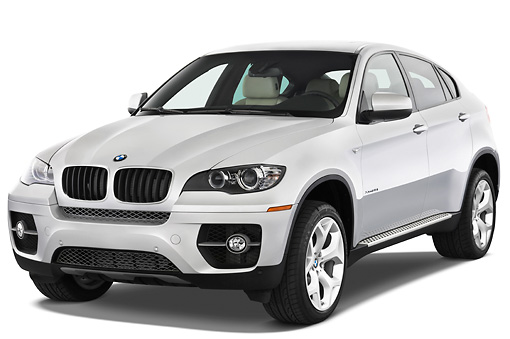 AUT 01 IZ0014 01 © Kimball Stock 2011 BMW X6 Sports Activity Vehicle Silver 3/4 Front View Studio