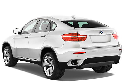 AUT 01 IZ0016 01 © Kimball Stock 2011 BMW X6 Sports Activity Vehicle Silver 3/4 Rear View Studio