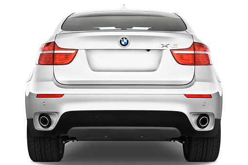 AUT 01 IZ0017 01 © Kimball Stock 2011 BMW X6 Sports Activity Vehicle Silver Rear View Studio
