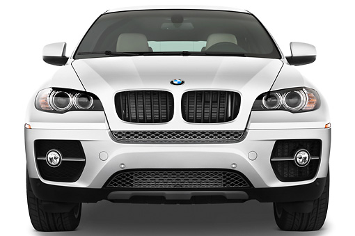 AUT 01 IZ0018 01 © Kimball Stock 2011 BMW X6 Sports Activity Vehicle Silver Front View Studio