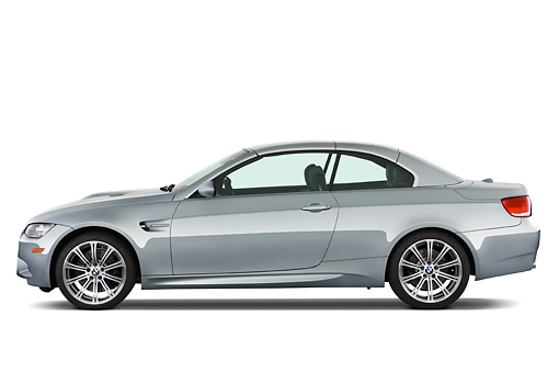 AUT 01 IZ0019 01 © Kimball Stock 2013 BMW M3 Convertible Silver Profile View Studio