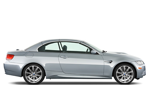 AUT 01 IZ0020 01 © Kimball Stock 2013 BMW M3 Convertible Silver Profile View Studio