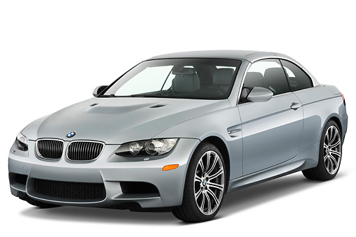 AUT 01 IZ0021 01 © Kimball Stock 2013 BMW M3 Convertible Silver 3/4 Front View Studio