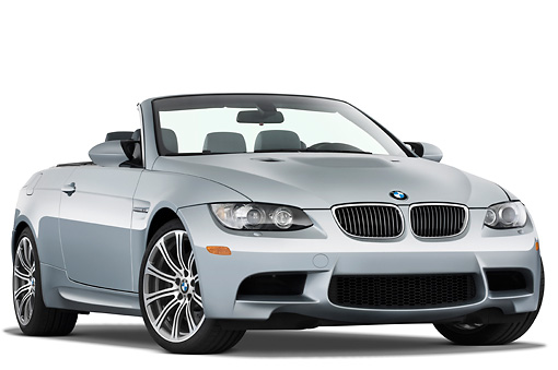 AUT 01 IZ0022 01 © Kimball Stock 2013 BMW M3 Convertible Silver 3/4 Front View Studio