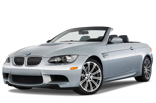 AUT 01 IZ0023 01 © Kimball Stock 2013 BMW M3 Convertible Silver 3/4 Front View Studio