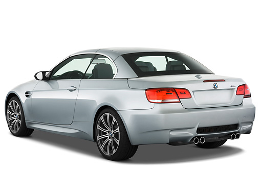 AUT 01 IZ0024 01 © Kimball Stock 2013 BMW M3 Convertible Silver 3/4 Rear View Studio