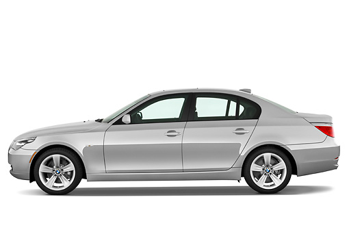 AUT 01 IZ0027 01 © Kimball Stock 2010 BMW 528i Silver Profile View Studio