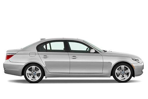 AUT 01 IZ0028 01 © Kimball Stock 2010 BMW 528i Silver Profile View Studio