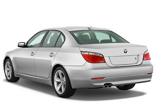 AUT 01 IZ0032 01 © Kimball Stock 2010 BMW 528i Silver 3/4 Rear View Studio