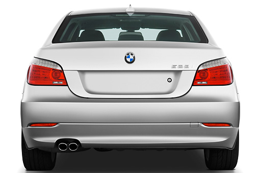 AUT 01 IZ0033 01 © Kimball Stock 2010 BMW 528i Silver Rear View Studio