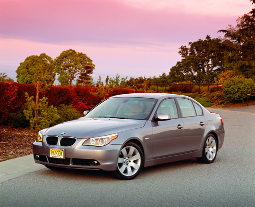 AUT 01 RK0191 02 © Kimball Stock 2004 BMW 530i E60 Silver 3/4 Front View By Trees