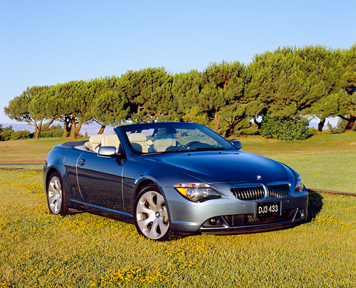 AUT 01 RK0205 02 © Kimball Stock 2005 BMW 645Ci Convertible Blue 3/4 Front View On Grass Trees Background