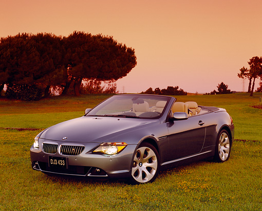 AUT 01 RK0211 02 © Kimball Stock 2005 BMW 645Ci Convertible Blue 3/4 Front View On Grass By Trees Filtered