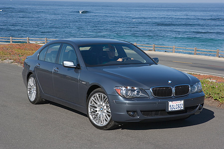 AUT 01 RK0239 01 © Kimball Stock 2006 BMW 760i Gray 3/4 Front View On Pavement By Ocean