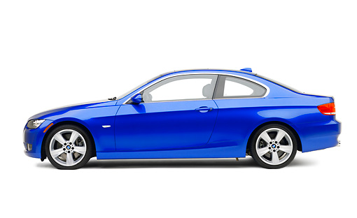 AUT 01 RK0281 01 © Kimball Stock 2007 BMW 335i Coupe Blue Profile View On White Seamless Studio