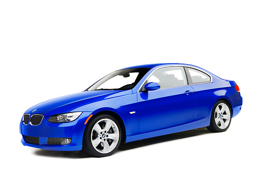 AUT 01 RK0283 01 © Kimball Stock 2007 BMW 335i Coupe Blue 3/4 Side View On White Seamless Studio