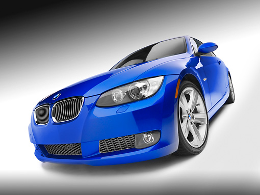 AUT 01 RK0285 01 © Kimball Stock 2007 BMW 335i Coupe Blue 3/4 Front View On White Seamless Studio