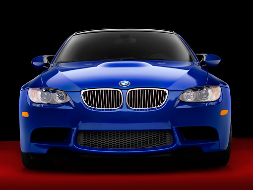 AUT 01 RK0316 01 © Kimball Stock 2008 BMW M3 Blue Head On View Studio