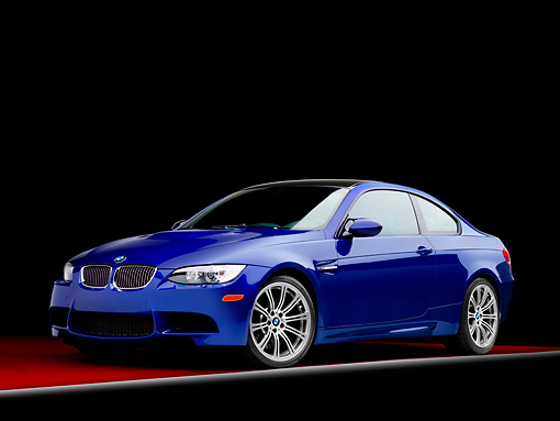 AUT 01 RK0317 01 © Kimball Stock 2008 BMW M3 Blue 3/4 Front View Studio