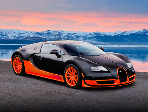 AUT 02 BK0002 01 © Kimball Stock 2012 Bugatti Veyron SS Black And Orange 3/4 Front View On Pavement By Water And Snowy Mountains