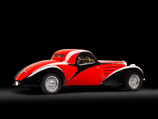 AUT 02 RK0131 01 © Kimball Stock 1937 Bugatti Type 57 S Atalante Coupe Red And Black Profile View In Studio