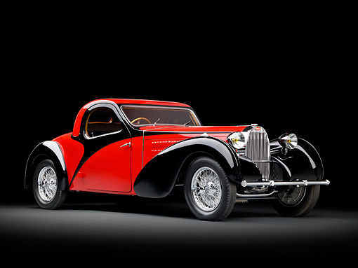 AUT 02 RK0136 01 © Kimball Stock 1937 Bugatti Type 57 S Atalante Coupe Red And Black 3/4 Front View In Studio