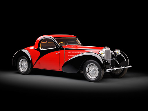 AUT 02 RK0138 01 © Kimball Stock 1937 Bugatti Type 57 S Atalante Coupe Red And Black 3/4 Front View In Studio