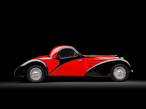 AUT 02 RK0143 01 © Kimball Stock 1937 Bugatti Type 57 S Atalante Coupe Red And Black Profile View In Studio
