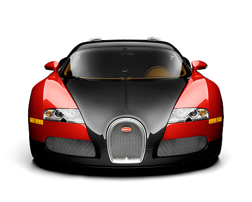 AUT 02 RK0149 01 © Kimball Stock 2008 Bugatti Veyron 16.4 Grand Sport Roadster Red And Black Front View On White Seamless