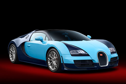 AUT 02 RK0161 01 © Kimball Stock 2013 Bugatti Veyron Grand Sport Blue 3/4 Front View In Studio