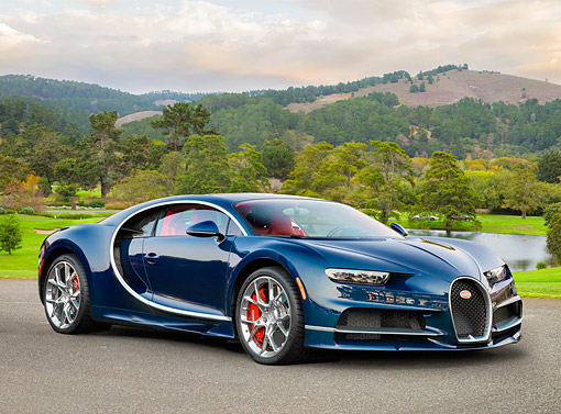 AUT 02 RK0163 01 © Kimball Stock 2017 Bugatti Chiron Hypercar Deep Blue 3/4 Front View On Pavement By Trees And Lake