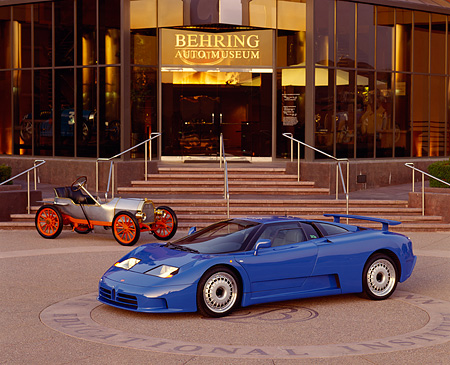 AUT 02 RK0003 14 © Kimball Stock 1994 Bugatti EB110 GT Coupe and 1908 Bugatti Type 10