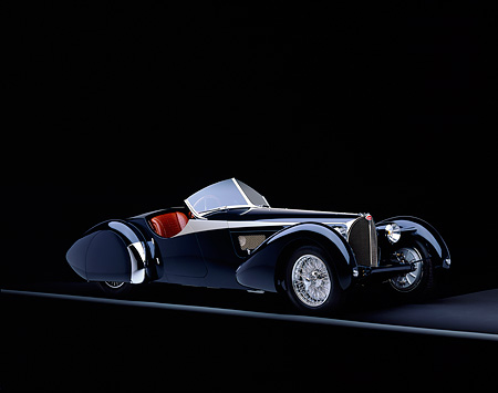 AUT 02 RK0040 08 © Kimball Stock 1938 Bugatti Type 57SC Dark Blue 3/4 Front View On Gray Line On Black Floor Studio