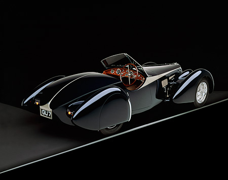 AUT 02 RK0042 06 © Kimball Stock 1938 Bugatti Type 57SC Dark Blue 3/4 Rear View On Gray Line Studio