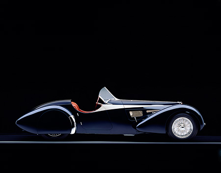 AUT 02 RK0043 07 © Kimball Stock 1938 Bugatti Type 57SC Black Profile View On Gray Line Studio