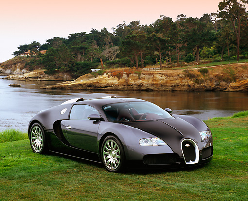 AUT 02 RK0076 05 © Kimball Stock 2006 Bugatti Veyron Black Coupe 3/4 Front View On Grass By Water