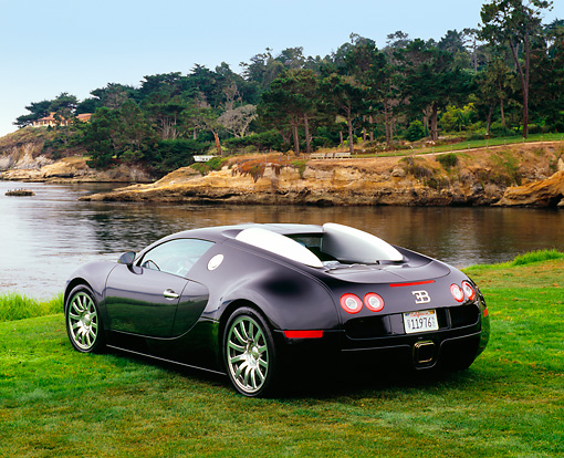 AUT 02 RK0081 03 © Kimball Stock 2006 Bugatti Veyron Black Coupe 3/4 Rear View On Grass By Water