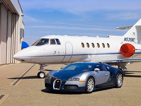 AUT 02 RK0087 01 © Kimball Stock 2007 Bugatti Veyron Silver And Blue 3/4 Front By Airplane