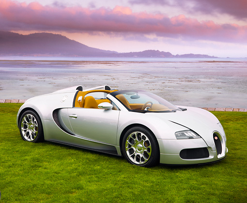 AUT 02 RK0106 01 © Kimball Stock 2008 Bugatti Veyron 16.4 Grand Sport Roadster Silver 3/4 Front View On Grass By Ocean