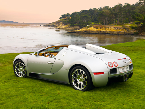 AUT 02 RK0109 01 © Kimball Stock 2008 Bugatti Veyron 16.4 Grand Sport Roadster Silver 3/4 Rear View On Grass By Ocean