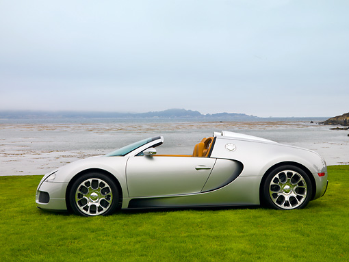 AUT 02 RK0110 01 © Kimball Stock 2008 Bugatti Veyron 16.4 Grand Sport Roadster Silver Profile View On Grass By Ocean